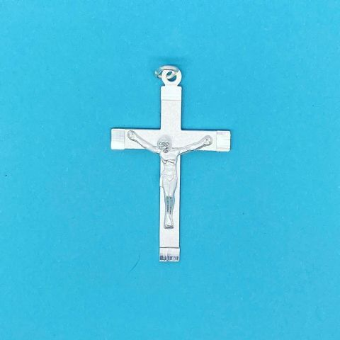 Genuine 925 Sterling Silver Jesus Christ Crucifix Pendant With Matt Bevel Edges